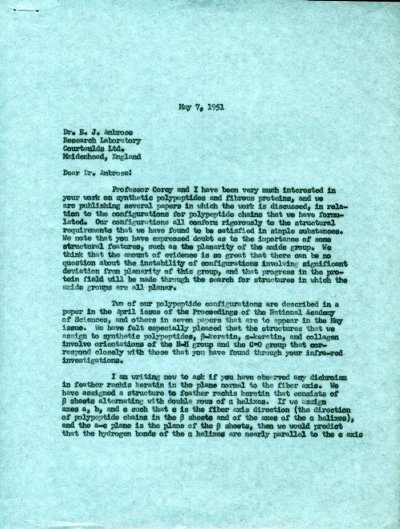 Letter from Linus Pauling to E.J. Ambrose.Page 1. May 7, 1951