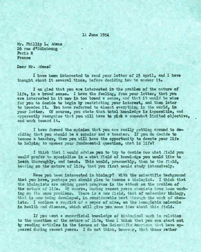Letter from Linus Pauling to Phillip L. Adams.Page 1. June 14, 1954