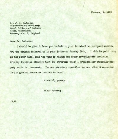 Letter from Linus Pauling to J.S. Anderson Page 1. February 2, 1938