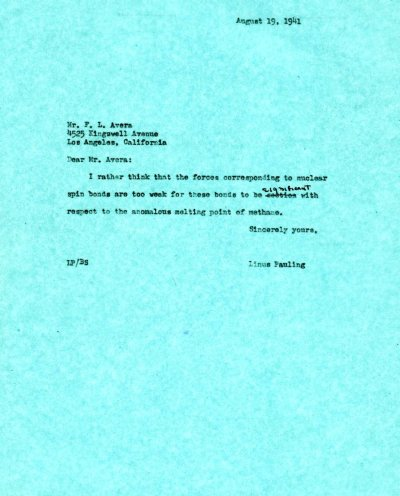 Letter from Linus Pauling to F.L. Avera. Page 1. August 19, 1941