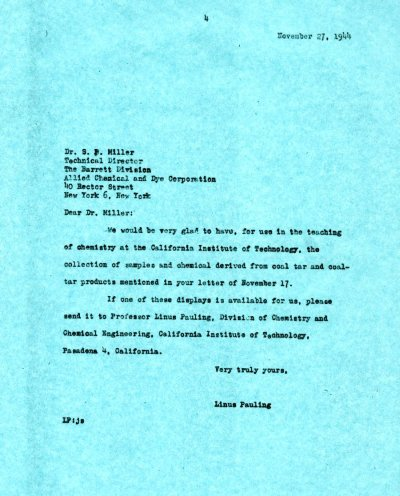 Letter from Linus Pauling to S.P. Miller. Page 1. November 27, 1944