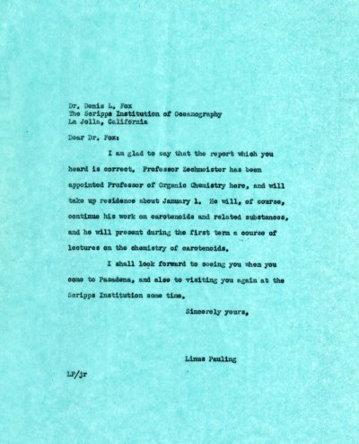 Letter from Linus Pauling to Denis L. Fox.Page 1. November 14, 1939