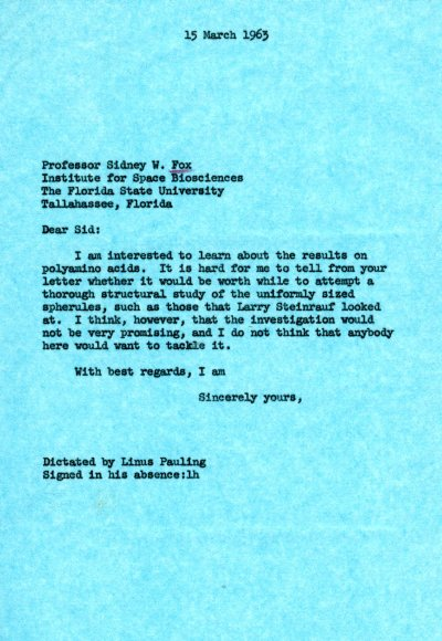 Letter from Linus Pauling to Sidney Fox.Page 1. March 15, 1963