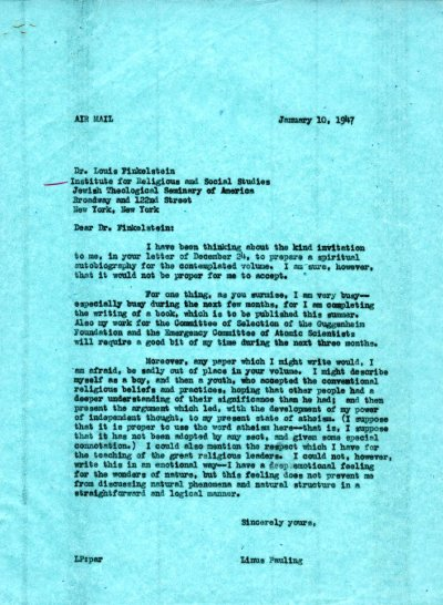 Letter from Linus Pauling to Louis Finkelstein. Page 1. January 10, 1947