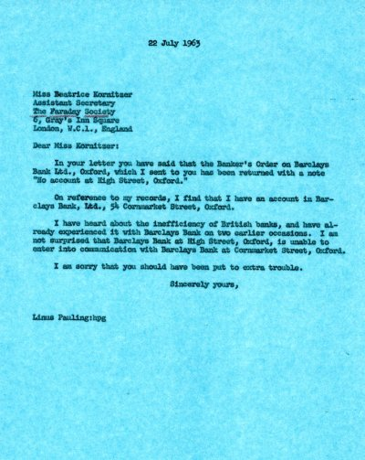 Letter from Linus Pauling to Beatrice Kornitzer.Page 1. July 22, 1963