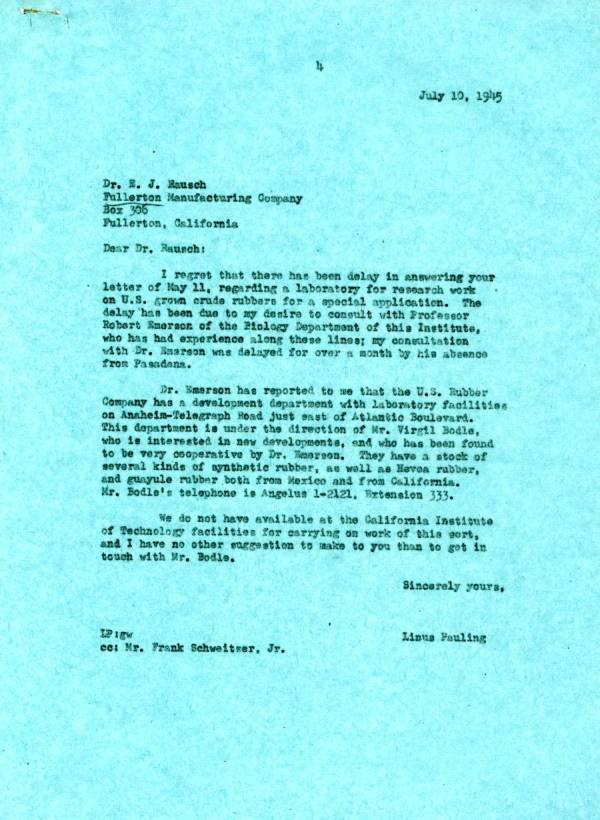 Letter from Linus Pauling to E.J. Rausch. Page 1. July 10, 1945