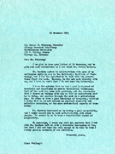 Letter from Linus Pauling to Samuel M. Feinberg.Page 1. November 18, 1953