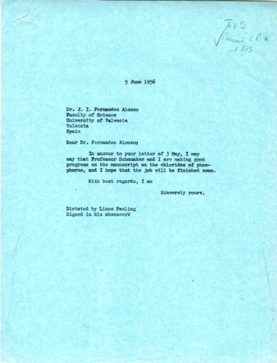 Letter from Linus Pauling to J.I. Fernandez Alonso. Page 1. June 5, 1956