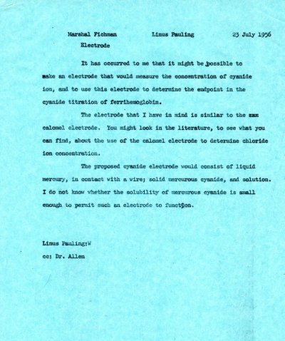 Letter from Linus Pauling to Marshal Fichman. Page 1. July 23, 1956