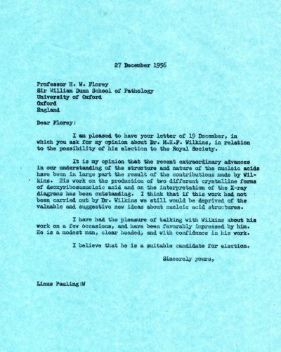 Letter from Linus Pauling to H.W. Florey.Page 1. December 27, 1956