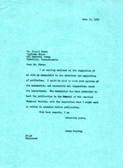 Letter from Linus Pauling to Ronald Ferry. Page 1. June 21, 1940