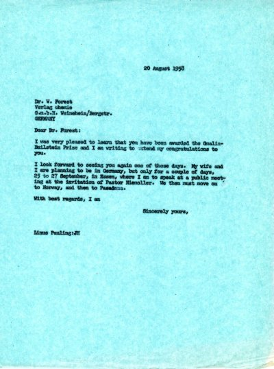 Letter from Linus Pauling to W. Forest.Page 1. August 20, 1958