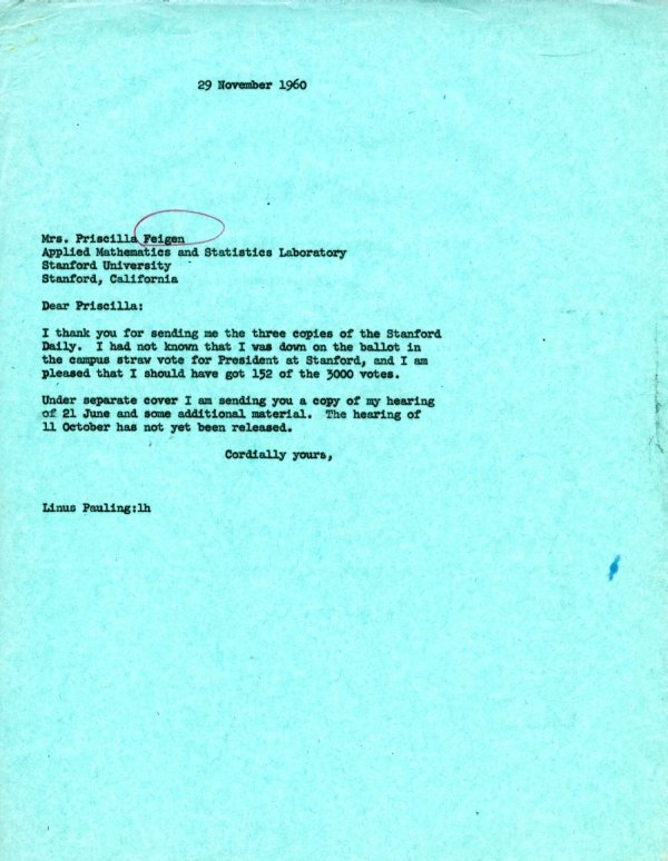 Letter from Linus Pauling to Priscilla Feigen.Page 1. November 29, 1960