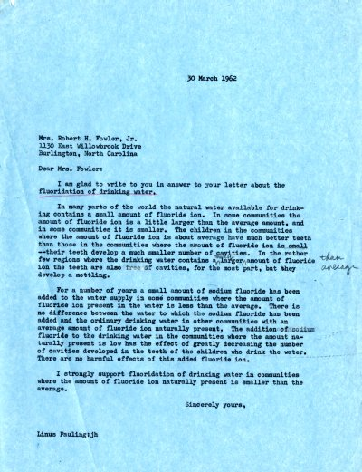 Letter from Linus Pauling to Mrs. Robert H. Fowler, Jr. Page 1. March 30, 1962