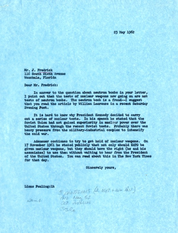 Letter from Linus Pauling to J. Frederick. Page 1. May 23, 1962