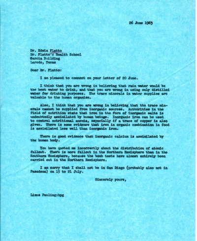 Letter from Linus Pauling to Edwin Flatto.Page 1. June 26, 1963