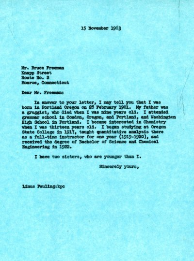 Letter from Linus Pauling to Bruce Freeman. Page 1. November 15, 1963