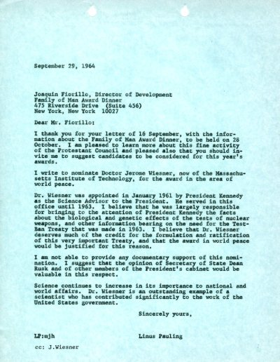 Letter from Linus Pauling to Joaquin Fiorillo. Page 1. September 29, 1964