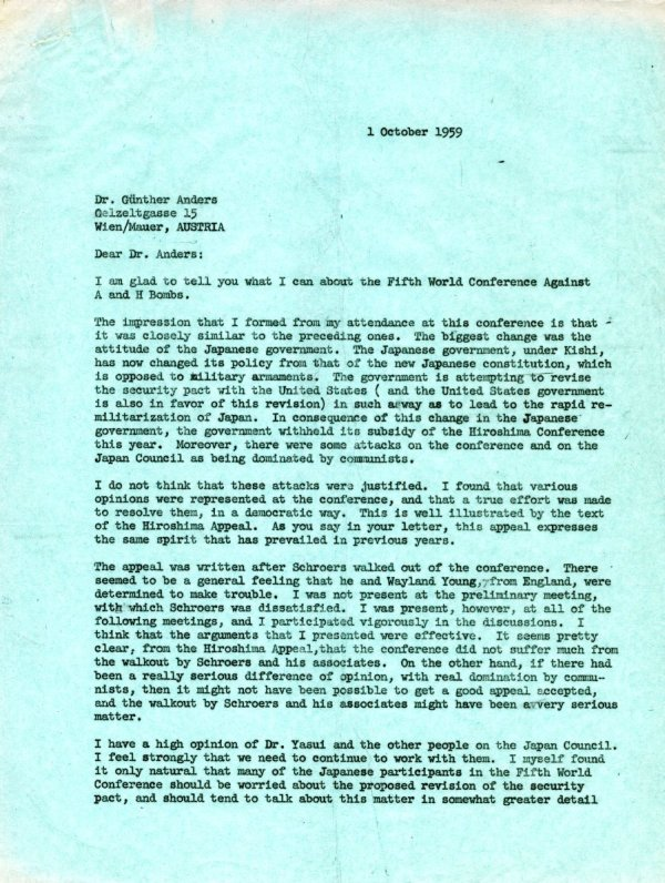 Letter from Linus Pauling to Günther Anders. Page 1. October 1, 1959