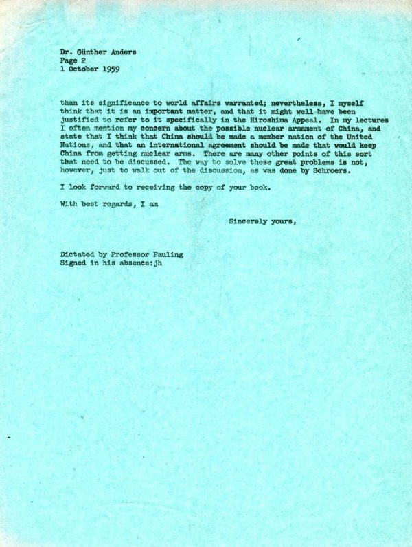 Letter from Linus Pauling to Günther Anders. Page 2. October 1, 1959