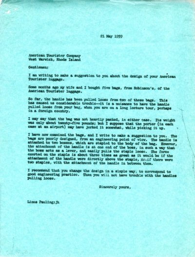 Letter from Linus Pauling to the American Tourister Company Page 1. May 21, 1959