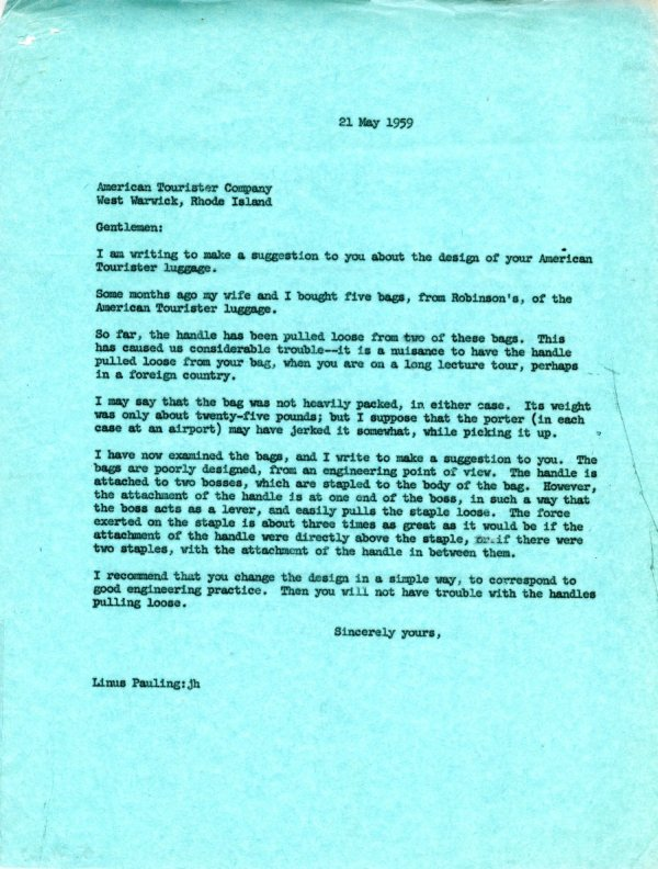 Letter from Linus Pauling to the American Tourister CompanyPage 1. May 21, 1959