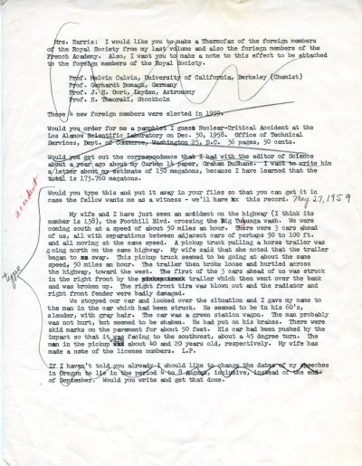 Letter from Linus Pauling to Joan Harris. Page 1. May 27, 1959