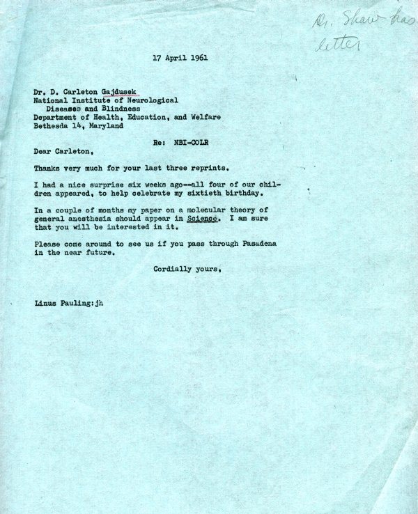 Letter from Linus Pauling to D. Carleton Gajdusek. Page 1. April 17, 1961