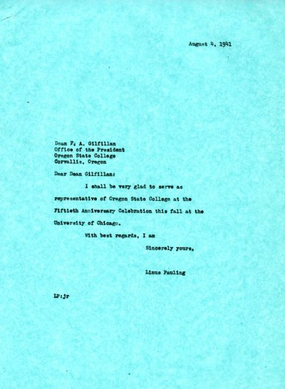 Letter from Linus Pauling to F.A. Gilfillan. Page 1. August 4, 1941