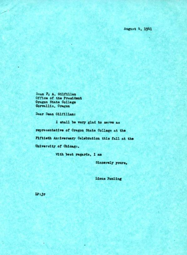 Letter from Linus Pauling to F.A. Gilfillan.Page 1. August 4, 1941