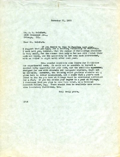 Letter from Linus Pauling to A.R. Goldfarb. Page 1. December 31, 1930
