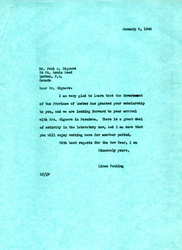 Letter from Linus Pauling to Paul A. Giguere. Page 1. January 2, 1940