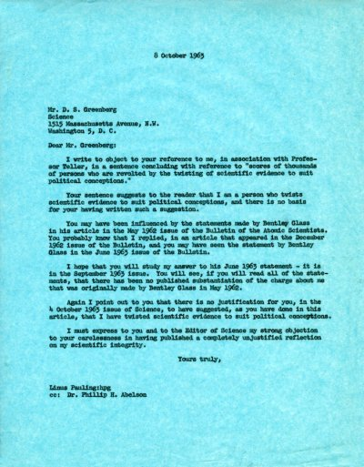 Letter from Linus Pauling to D. S. Greenberg Page 1. October 8, 1963