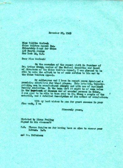 Letter from Linus Pauling to Talitha Gerlach. Page 1. November 29, 1949