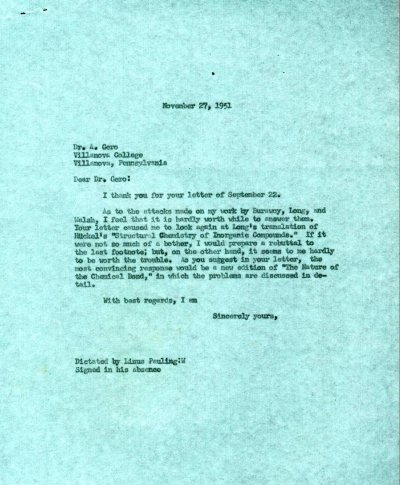 Letter from Linus Pauling to A. Gero.Page 1. November 27, 1951