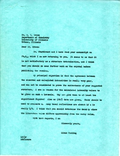 Letter from Linus Pauling to S.T. Gross.Page 1. December 5, 1939