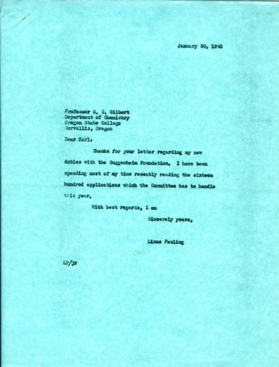 Letter from Linus Pauling to E.C. Gilbert. Page 1. January 30, 1940