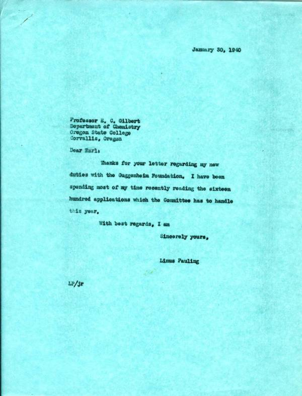 Letter from Linus Pauling to E.C. Gilbert.Page 1. January 30, 1940