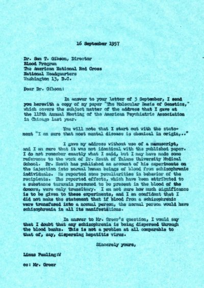 Letter from Linus Pauling to Sam T. Gibson. Page 1. September 16, 1957