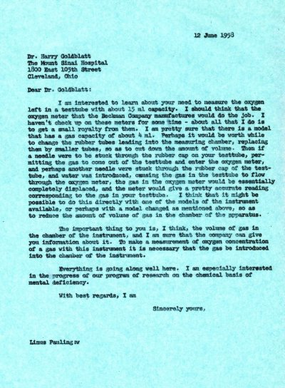 Letter from Linus Pauling to Harry Goldblatt. Page 1. June 12, 1958
