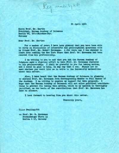 Letter from Linus Pauling to Dr. Hartke.Page 1. April 21, 1964