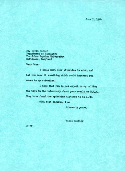 Letter from Linus Pauling to David Harker. Page 1. June 7, 1940