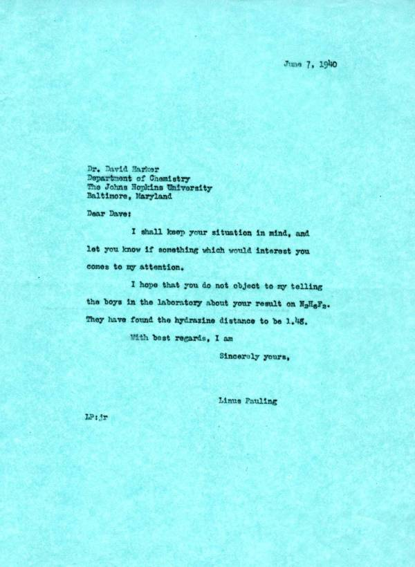 Letter from Linus Pauling to David Harker.Page 1. June 7, 1940