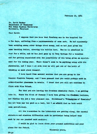 Letter from Linus Pauling to David Harker. Page 1. February 22, 1941