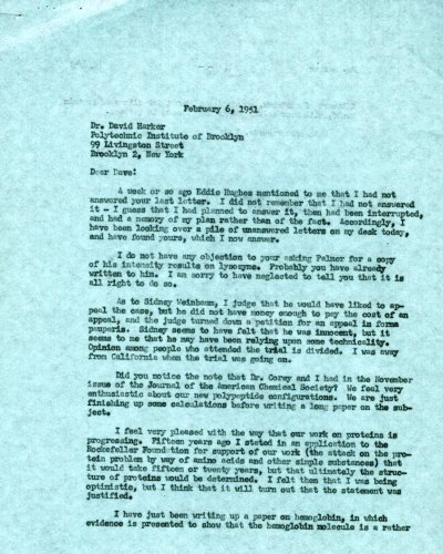 Letter from Linus Pauling to David Harker.Page 1. February 6, 1951
