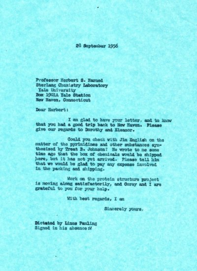 Letter from Linus Pauling to Herbert S. Harned. Page 1. September 28, 1956