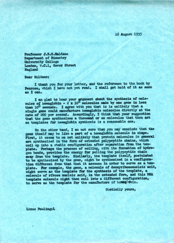 Letter from Linus Pauling to J.B.S. Haldane. Page 1. August 16, 1955