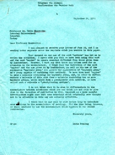 Letter from Linus Pauling to Felix Haurowitz. Page 1. September 24, 1945