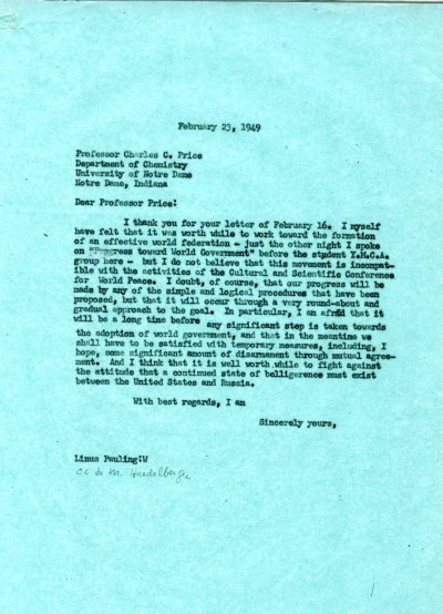 Letter from Linus Pauling to Charles C. Price. Page 1. February 23, 1949