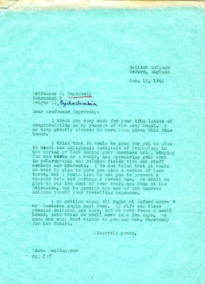 Letter from Linus Pauling to Jaroslav Heyrovsky. Page 1. January 15, 1948